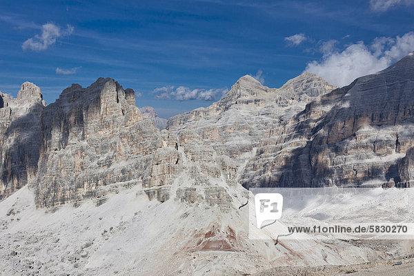 Aussicht vom Lagazuoi in das Innere der Sellagruppe  Falzarego-Pass  Dolomiten  Italien  Europa