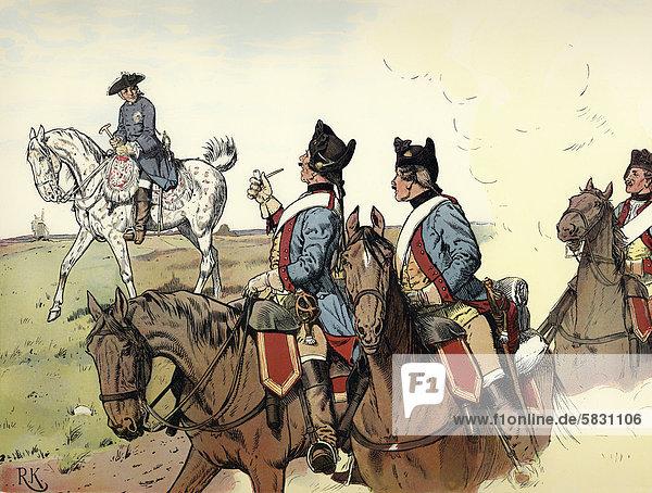 Auf dem Marsch durch die Lausitz  1760  im Siebenjährigen Krieg  Friedrich II. oder Friedrich der Große oder der Alte Fritz  1712 - 1786  König von Preußen sowie Kurfürst von Brandenburg aus dem Adelshaus Hohenzollern  Historienmalerei aus dem 19. Jahrhundert