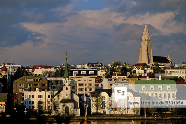 Reykjavik Hauptstadt Europa Großstadt Kirche Kirchturm Island