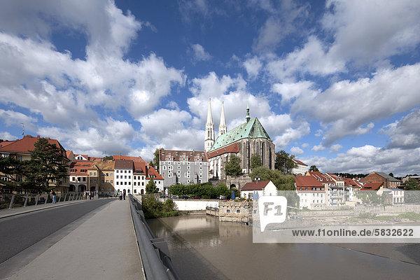 Waidhaus  Pfarrkirche St. Peter und Paul  Europabrücke über die Neiße  Görlitz  Oberlausitz  Lausitz  Sachsen  Deutschland  Europa  ÖffentlicherGrund