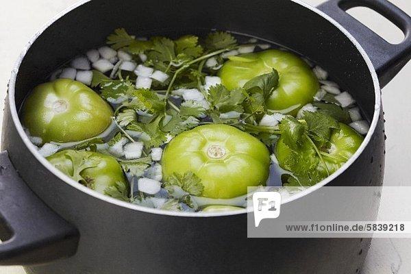 Tomatillos  Zwiebeln und Koriandergrün im Kochtopf Tomatillos, Zwiebeln und Koriandergrün im Kochtopf