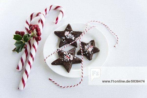sternförmig Spazierstock Stock Schokolade Keks Süßigkeit