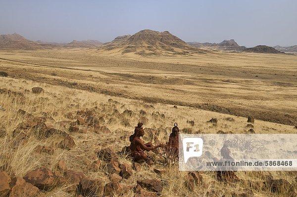 Himba-Frauen bei der Harzgewinnung aus Parfümpflanzen  Commiphora wildii  Puros Conservancy  Damaraland  Namibia