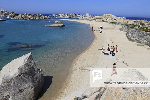 Stretch of beach in the Lavezzi Islands Nature Reserve  Southern Corsica  Corsica  France  Europe