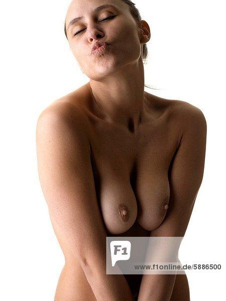 Frau  stirnrunzeln  jung  nackt