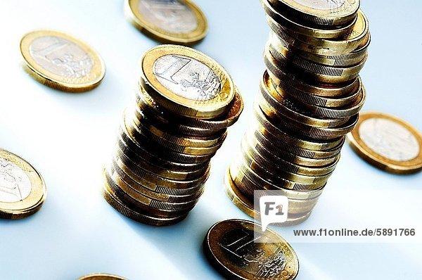 Euromünze  Stapel  1  Euro