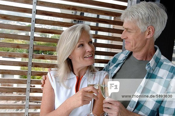 sehen  reifer Erwachsene  reife Erwachsene  zuprosten  anstoßen  Champagner