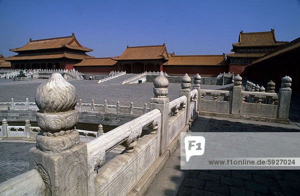 Balustrade in front of buildings  Beijing  China