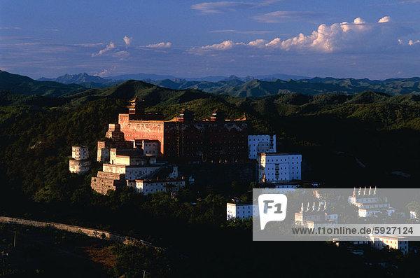 hoch  oben  Palast  Schloß  Schlösser  Ansicht  Flachwinkelansicht  China  Winkel