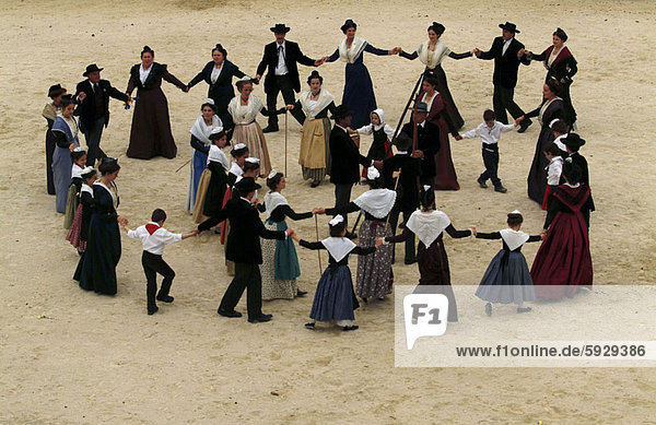 High angle view of a group of people dancing  Provence  France