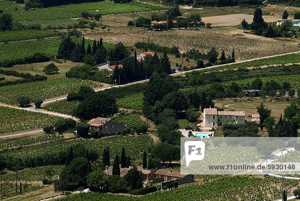 hoch oben Frankreich Gebäude Dorf Ansicht Flachwinkelansicht Provence - Alpes-Cote d Azur Winkel