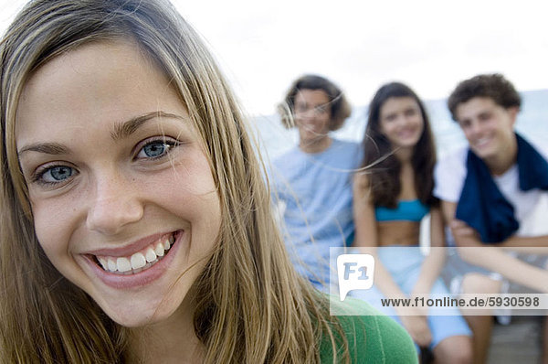 Close-up of a teenage girl smiling. Close-up of a teenage girl smiling
