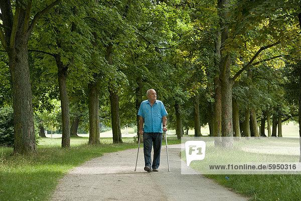 Alter Mann geht in einem Park spazieren Alter Mann geht in einem Park spazieren