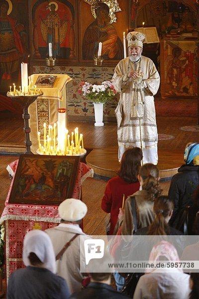 Palm Sunday Feier in Saint Serge orthodoxe Kirche  Paris  Frankreich  Europa