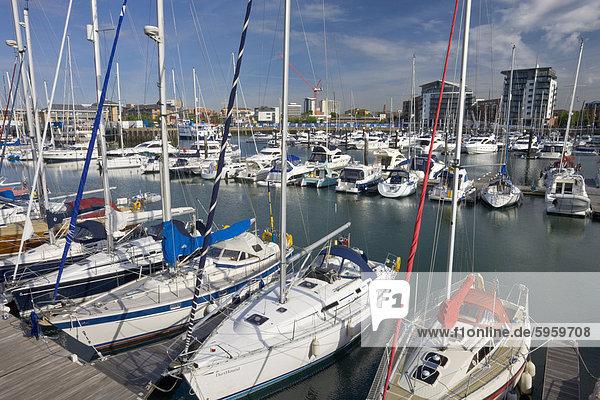 Yachts moored at Ocean Village Marina  Southampton  Hampshire  England  United Kingdom  Europe