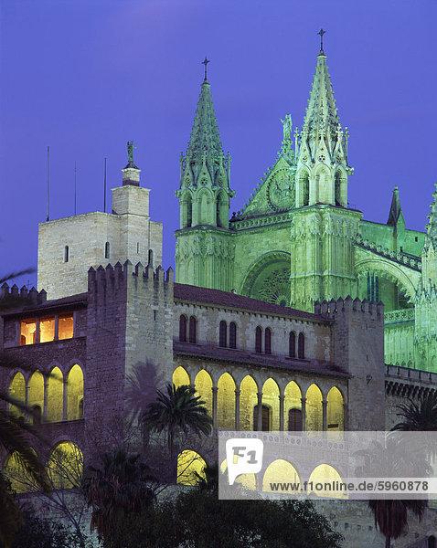 The Palma Bay cathedral illuminated at night  on Majorca  Balearic Islands  Spain  Europe