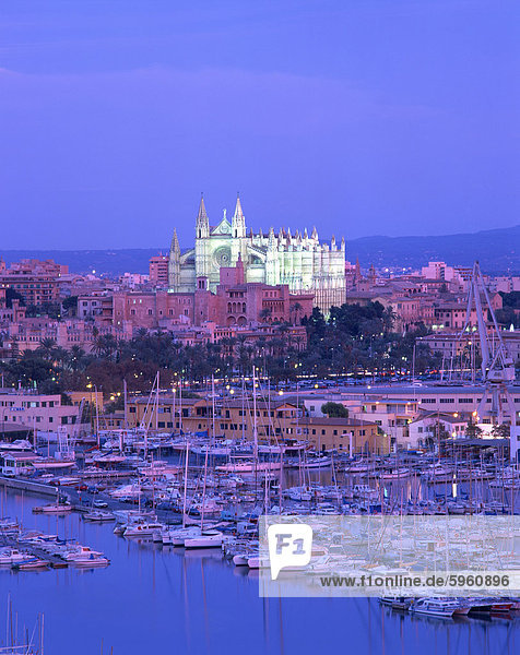 Boats in the marina at dusk with the cathedral of Palma on the skyline  Majorca  Balearic Islands  Spain  Mediterranean  Europe