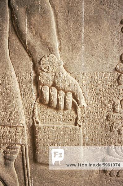 Nahaufnahme von geschnitzten Erleichterung,  Nimrud,  Irak,  Naher Osten
