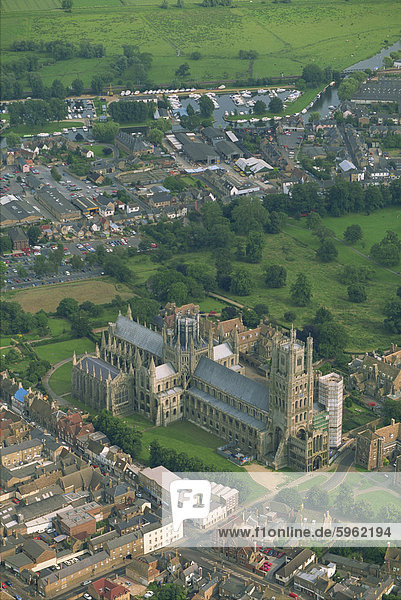 Ely Cathedral from the air  Cambridgeshire  England  United Kingdom  Europe