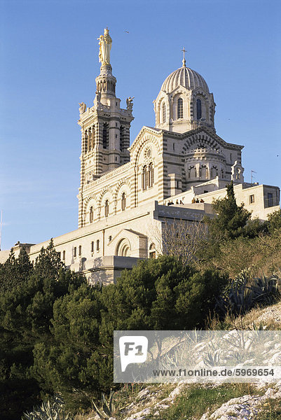 Notre Dame De La Garde  Marseille  Bouches-du-Rhone  Provence  Frankreich  Europa