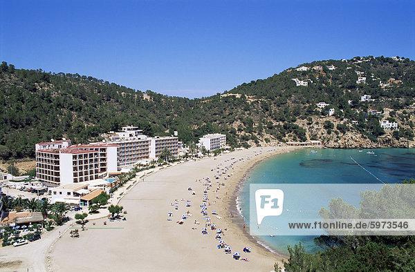 Beach  Cala de Sant Vicent  Ibiza  Balearic Islands  Spain  Mediterranean  Europe
