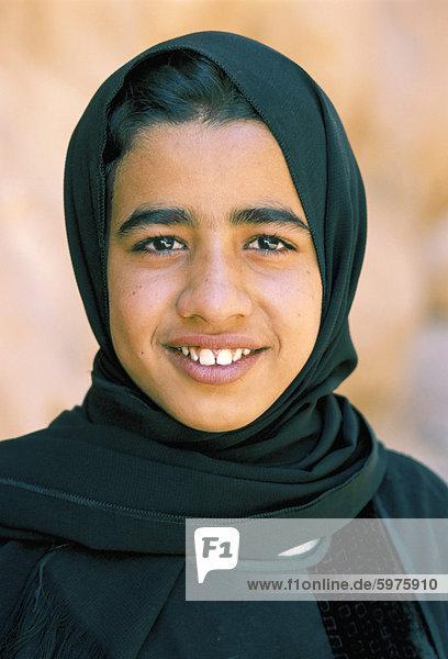 Portrait of a Bedouin girl  Wadi Rum  Jordan  Middle East