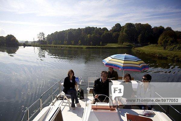 Navigation am Fluss Saone in Franche-Comte  Frankreich  Europa