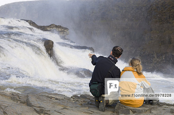 Gullfoss-Wasserfall  Island  Polarregionen