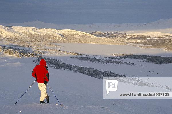 Blick über den gefrorenen See Furusjoen  Rondablikk  Norrway  Skandinavien  Europa