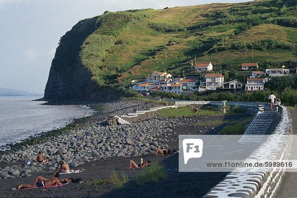 Strand von Praia Almoxarife  Faial  Azoren  Portugal  Atlantik  Europa