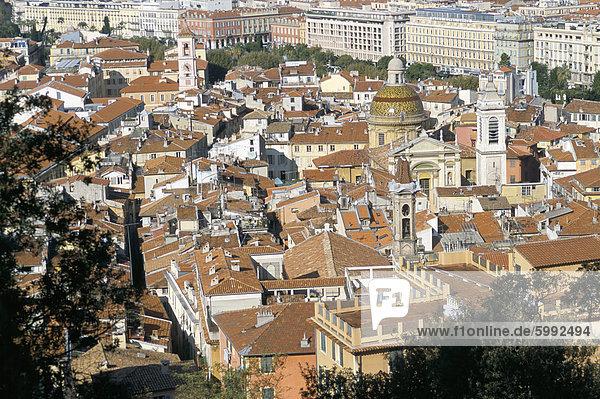 Blick auf die Altstadt vom Schlossberg  Nizza  Alpes-Maritimes  Provence  Frankreich  Europa