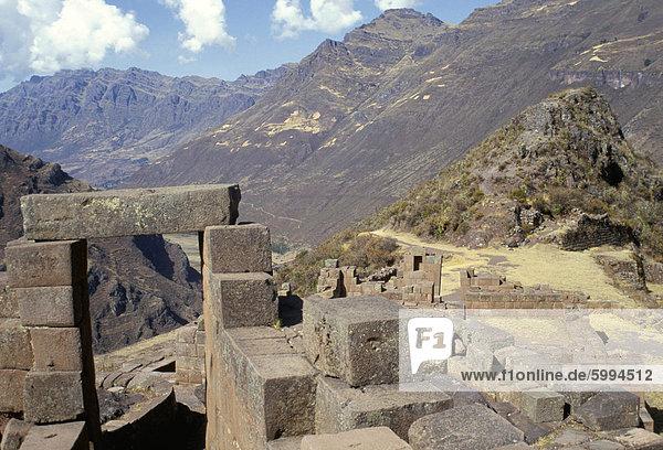 Intihuatana  Hitching Post Sonne  Inca Standort in das Urubamba-Tal  Pisac  Peru  Südamerika