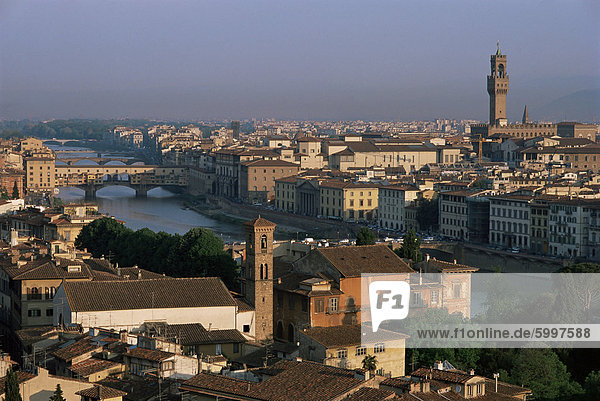 General view from the Piazza Michelangelo  Florence  Tuscany  Italy  Europe