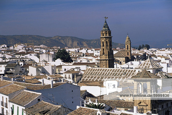 View of city from castle walls  with church of San Sebastian on skyline  Antequera  Malaga  Andalucia  Spain  europe