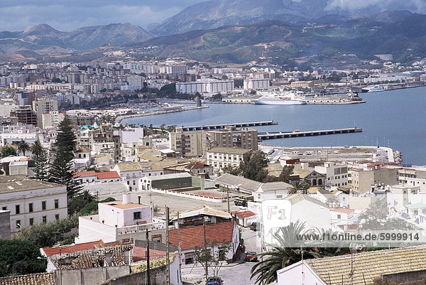View over port of of the Spanish enclave of Ceuta  Spain  Spanish North Africa  Africa