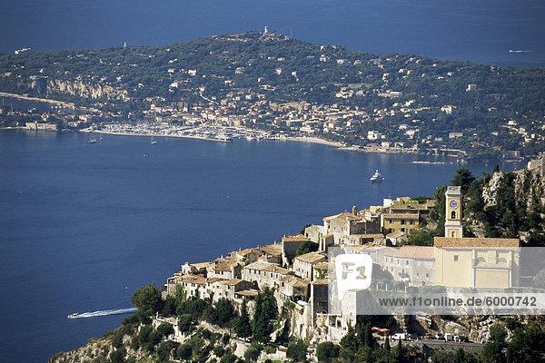 Eze village and Cap Ferrat in background  Alpes-Maritimes  Cote d'Azur  Provence  French Riviera  France  Mediterranean  Europe