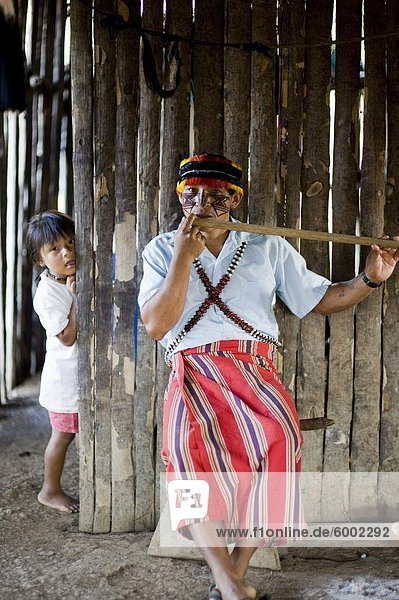 Ein Mann der Achuar spielt eine Achuar Flöte  Amazonas  Ecuador  Südamerika