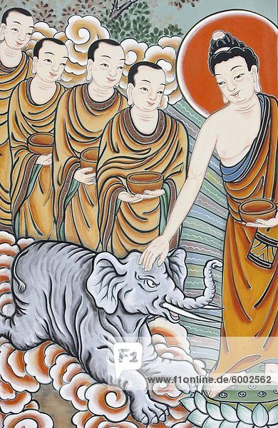 Der Buddha Zähmung eines Elefanten  dargestellt im Leben von Buddha  Seoul  Südkorea  Asien Der Buddha Zähmung eines Elefanten, dargestellt im Leben von Buddha, Seoul, Südkorea, Asien