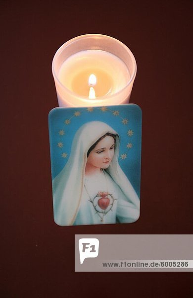 Bild der Jungfrau Maria mit Rosen  Paris  Frankreich  Europa
