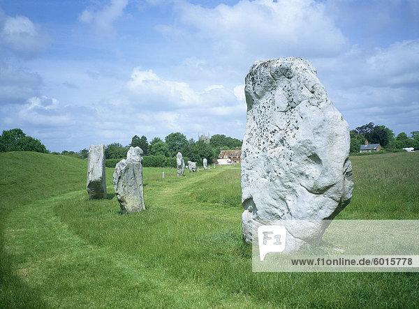 Stehende Steine in der Steinkreis  Avebury  UNESCO Weltkulturerbe  Wiltshire  England  Vereinigtes Königreich  Europa