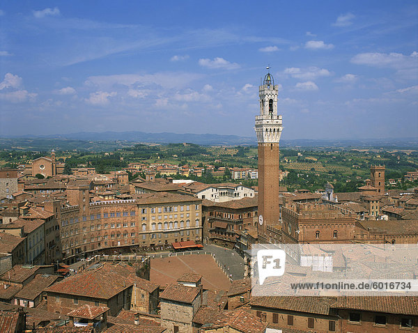 The Piazza del Campo and houses on the skyline of the town of Siena  UNESCO World Heritage Site  Tuscany  Italy  Europe