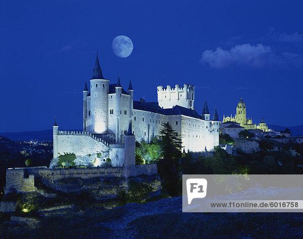 View of castle illuminated  Segovia  Spain  Europe
