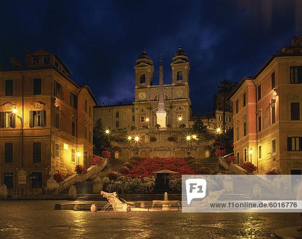 The Spanish Steps illuminated at night in the city of Rome  Lazio  Italy  Europe
