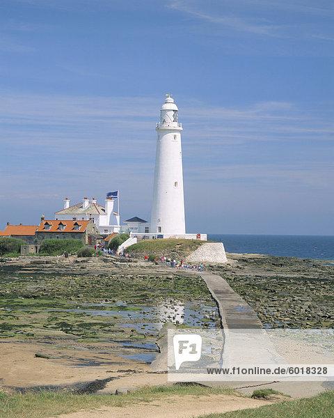 Leuchtturm  St. Marien Insel  Whitley Bay  Northumbria (Northumberland)  England  Vereinigtes Königreich  Europa