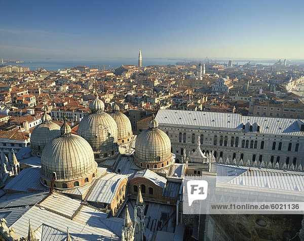 The Basilica and the city skyline from the Campanile in Venice  UNESCO World Heritage Site  Veneto  Italy  Europe