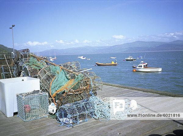 Dovey Mündung vom Pier  Fisch Netze  Aberdovey  Gwynedd  Wales  Vereinigtes Königreich  Europa