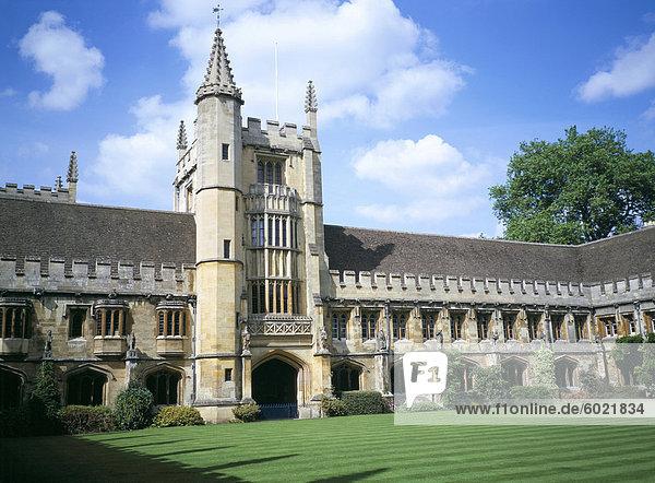 Gründer Turm vom Kloster Quadrangle  Magdalen College  Oxford  Oxfordshire  England  Vereinigtes Königreich  Europa