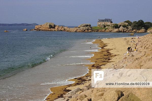 Frankreich Europa Strand Bretagne Cote de Granit Rose