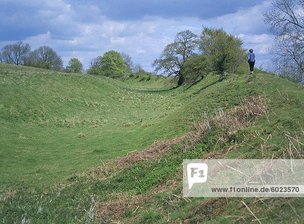 Hill Fort und Walker  Croft Ambrey  verwaltet von National Trust  Herefordshire  England  Vereinigtes Königreich  Europa