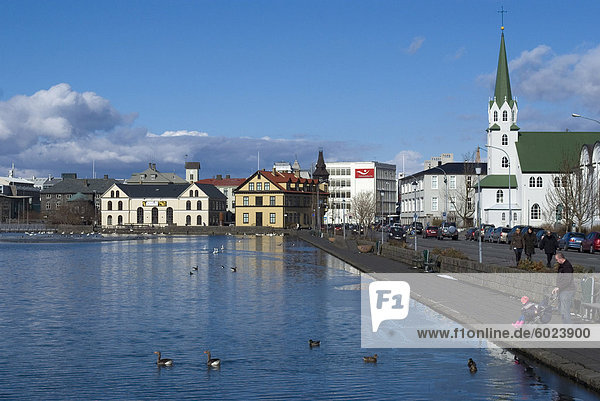 View over Tjornin (pond) to city behind  Reykjavik  Iceland  Polar Regions